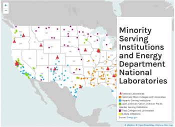 Minority Serving Institutions and Energy Department National Laboratories Map