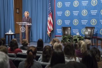 NNSA Administrator Lisa Gordon-Hagerty shares words of wisdom at leadership event at NNSA's Washington, DC headquarters.