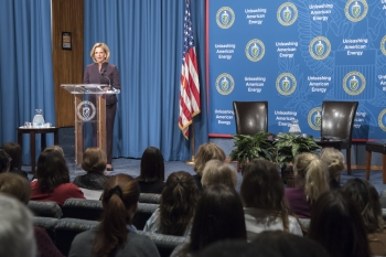 NNSA Administrator Lisa Gordon-Hagerty shares words of wisdom at leadership event at NNSA's Washington, DC headquarters.