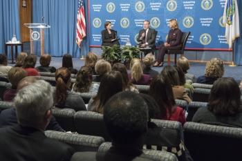 (from left) Emily Singer, Lisa Gordon-Hagerty, and Dan Brouillette