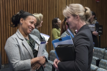 Dr. D. Mischell Navarro, NNSA Director of Human Resources and a member of the Senior Executive Service, met with aspiring leaders during an informal networking event after the leadership panel.
