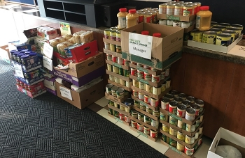 Richland Operations Office employees consolidated food donations for delivery to the local food bank.