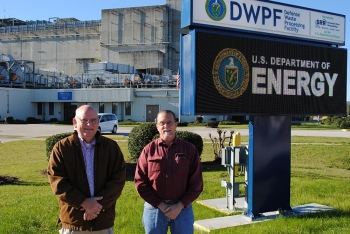 Savannah River Remediation Melter Engineers John Owen, left, and Dan Iverson currently work at the Savannah River Site's (SRS) Defense Waste Processing Facility (DWPF). They attended the groundbreaking for the facility as SRS employees in 1983.