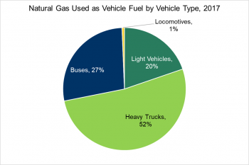 Natural gas used as vehicle fuel by vehicle type in 2017