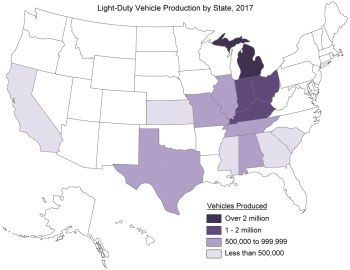 Light duty vehicle production by state in 2017.