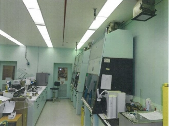 Before photo of the remodel of a 222-S Laboratory room, which included installation of new walls and floors, vent hoods, gas piping, and other equipment.