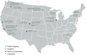 Map shows the locations of federal agencies, hospitals, national laboratories, and universities across the continental United States that have committed to be Smart Labs Accelerator partners.