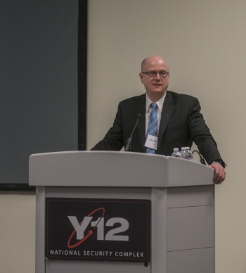 Deputy Associate Administrator for Infrastructure in NNSA's Office of Safety, Infrastructure and Operations Ken Sheely addresses attendees at the Aging Infrastructure Management Workshop at Y-12 National Security Complex.