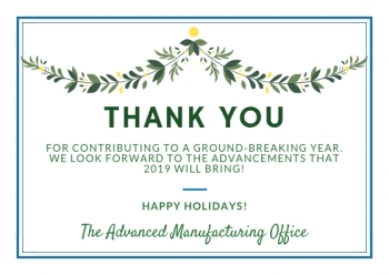 text that reads: Thank you for contributing to a ground breaking year. we look forward to the advancement that 2019 will bring.
