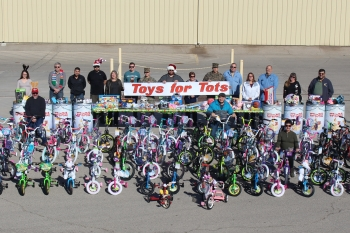 Nevada National Security Site employees donated more than 80 bicycles and several barrels of toys through the Toys for Tots program.