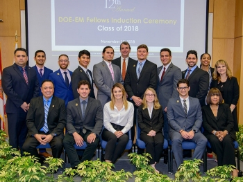 Members of the DOE Fellows Class of 2018 gather with DOE and Florida International University (FIU) officials