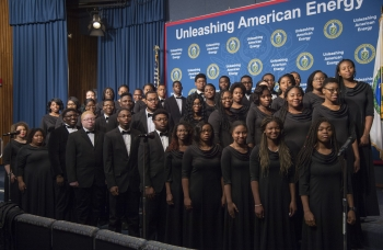 The Virginia Union University Choir performs on stage at the 2018 MLK celebration at the U.S. Department of Energy.