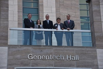 Hosts of the meeting at the University of California discuss Alternative Technologies for Cesium Irradiators, at Genentech Hall Auditorium and Atrium at the University of California, San Francisco.