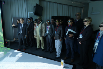 Participants test 3D glasses in a demonstration at the Japanese Integrated Support Center for Nuclear Nonproliferation and Nuclear Security.