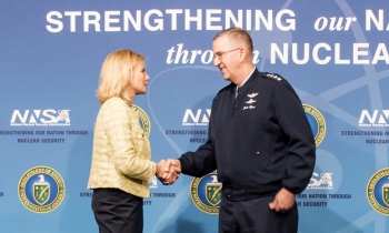 NNSA Administrator Lisa E. Gordon-Hagerty and Gen. John E. Hyten, the commander of U.S. Strategic Command