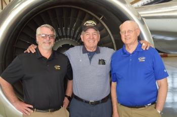 Alfred Castillo, center, with Frank Lofton, AAR chief inspector, left, and David Jones, AAR vice president of operations.
