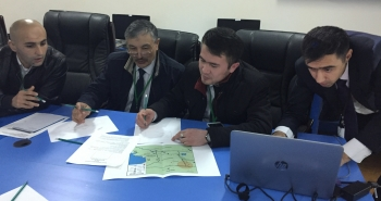 Exercise participants outline their plan and discuss their strategy with tools provided during the NNSA NSDD workshop in Tajikistan.