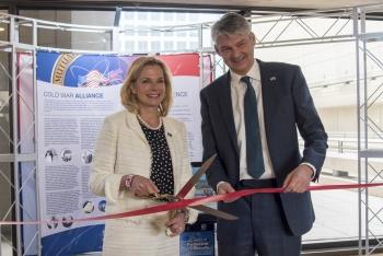 NNSA Administrator Lisa E. Gordon-Hagerty and Stephen Lovegrove cut the ribbon on the U.S.-U.K. Mutual Defense Agreement 60th Anniversary commemorative exhibit at DOE headquarters in Washington, D.C.