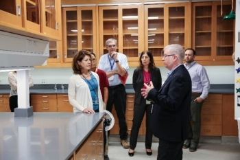 NNSA and Lawrence Livermore National Laboratory staff tour the newly refurbished radiochemistry laboratory.