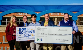 Pictured from left: Calloway County High School Science Bowl coach Erica Gray, Science Bowl Coordinator Steve Christmas, student Mark Thang, DOE Science Bowl Coordinator Buz Smith, and Calloway Principal Chris King.