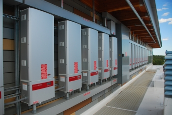 Array of Fronius inverters at the zero net energy MA Fish & Wildlife facility in Westborough, MA.