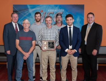 Assistant Deputy Administrator for Major Modernization Programs Mike Thompson and Field Office Manager Mark Holecek recognized more than 100 employees from seven KCNSC teams