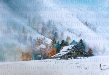 """""""First Snow"""" by John Cormier, People's Choice Award winner at the New Mexico Watercolor Society Spring Exhibition. Reproduced with permission."""