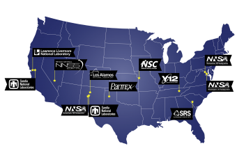 A map showing the locations of NNSA's labs, plants, and sites.