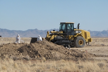 Navarro Research and Engineering crews conduct soil excavation activities at the Clean Slate II site on the Tonopah Test Range.