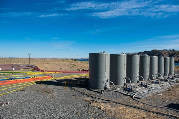 A view of the tanks and hoses used at the electrical resistivity tomography site at Hanford's 300 Area.