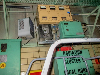 Equipment for the criticality accident alarm system (shown above) was permanently shut off in the C-400 Cleaning Building.