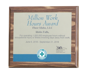 The National Safety Council recognized Fluor Idaho employees for working 1 million hours without occupational injury or illness involving days away from work.