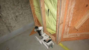 Personnel equipped the robot with instruments to detect radioactivity and radiological contamination.
