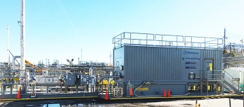 The Tank Closure Cesium Removal unit, stationed near Tanks 10 and 11 in the SRS H Tank Farm, consists of three modular skids.