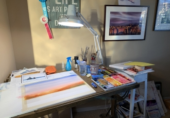 John Cormier's watercolor work station at home