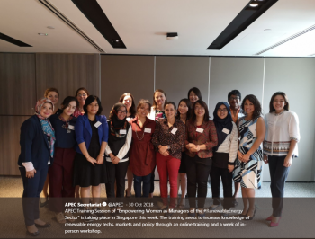 """APEC Training Session of """"Empowering Women as Managers of the #RenewableEnergy Sector"""" sought to increase knowledge of renewable energy techs, markets and policy."""