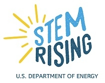 STEM Rising logo with two different shades of blue and the sun's rays off the left hand side.