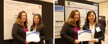 Side-by-side photos of two women standing in front of R&D project posters.