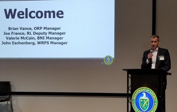 EM Office of River Protection Manager Brian Vance speaks to more than 80 senior leaders from more than 14 Hanford Site organizations during a recent operations leadership workshop.