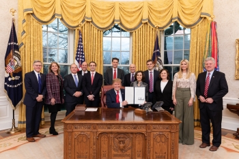 President Trump at the White House with federal officials. Today, he launched his American AI Initiative that directs Federal agencies to prioritize investments in research and development of AI.