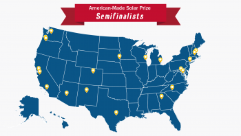 Illustration of the United States showing the location of the American-Made Solar Prize Semifinalists