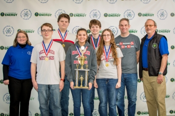 cCracken County High School: (Front row, l-r) Jennifer Woodard, DOE Paducah Site Lead, Xander Norment, Ella McBee, Evie Dukes. Back row: Jake Mitchell, Mason Wooten, Matt Shelton, MCHS Coach and Buz Smith, DOE Science Bowl Coordinator