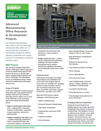 screenshot of the Research & Development Projects Fact Sheet