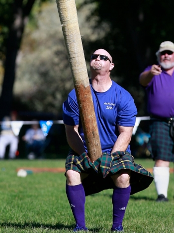 """Caber Toss at the Aztec Highland Games & Celtic Festival in Aztec, NM. Caber: 17'2"""" 117lb."""
