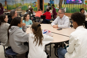 Oak Ridge Office of Environmental Management Manager Jay Mullis participates in the DOE Career Café, where students shared interests, learned about careers, and asked questions.
