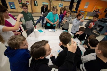 Students enjoy hands-on lessons on building lava lamps.