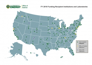 Map of FY 2018 Office of Science Funding Recipient Institutions