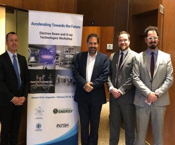From left, Michael Garcia of the U.S. Embassy Buenos Aires, Julian Gadano of Argentina's Subsecretariat of Nuclear Energy, Evan Thompson of NNSA, and Tomas Bieda of the Subsecretariat of Nuclear Energy, who all attended the workshop.