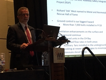 Bruce Covert, President and Project Manager of Nuclear Waste Partnership,  discussed infrastructure improvements and other key activities at WIPP during panel discussions at the 2019 Waste Management Symposia.