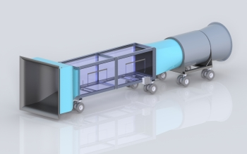 Graphic of a wind tunnel design.